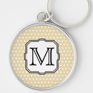 Your Letter. Custom Monogram. Beige Polka Dot. Key Chain