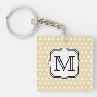 Your Letter. Custom Monogram. Beige Polka Dot. Acrylic Key Chain