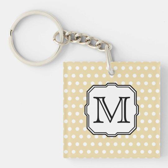 Your Letter. Custom Monogram. Beige Polka Dot. Keychain