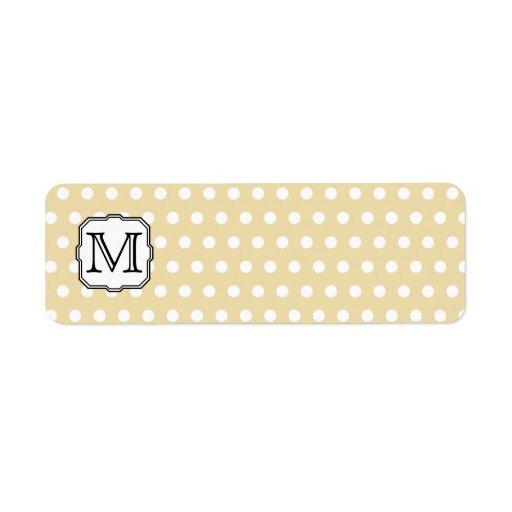 Your Letter. Custom Monogram. Beige Polka Dot. Return Address Label