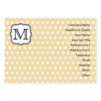 Your Letter. Custom Monogram. Beige Polka Dot. Large Business Card