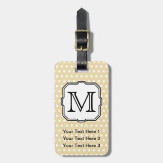 Your Letter. Custom Monogram. Beige Polka Dot. Tags For Bags