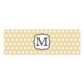 Your Letter. Custom Monogram. Beige Polka Dot. Mini Business Card