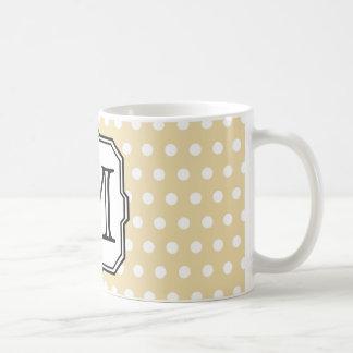Your Letter. Custom Monogram. Beige Polka Dot. Coffee Mug
