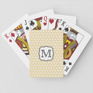 Your Letter. Custom Monogram. Beige Polka Dot. Poker Cards