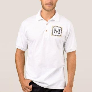 Your Letter. Custom Monogram. Beige Polka Dot. Polo Shirt