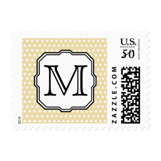 Your Letter. Custom Monogram. Beige Polka Dot. Postage