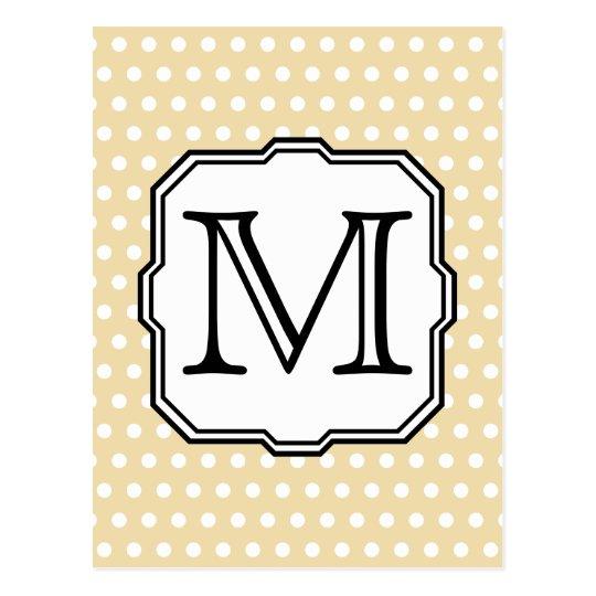 Your Letter. Custom Monogram. Beige Polka Dot. Postcard