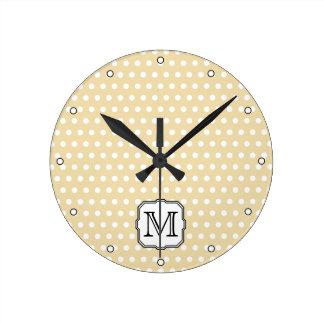Your Letter. Custom Monogram. Beige Polka Dot. Round Clock
