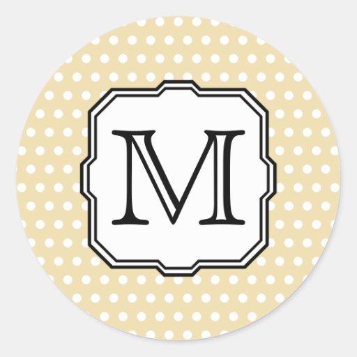 Your Letter. Custom Monogram. Beige Polka Dot. Sticker