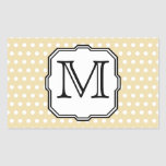 Your Letter. Custom Monogram. Beige Polka Dot. Stickers