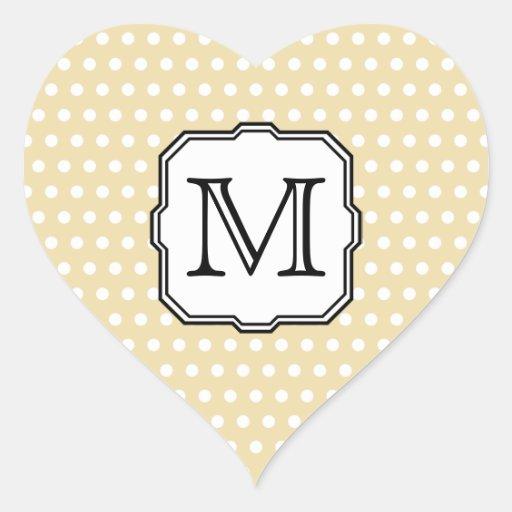 Your Letter. Custom Monogram. Beige Polka Dot. Heart Sticker