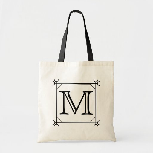 Your Letter. Custom Monogram. Black and White Tote Bags