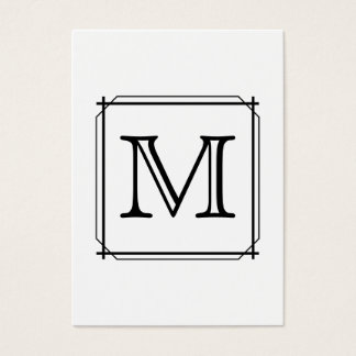 Your Letter. Custom Monogram. Black and White Business Card