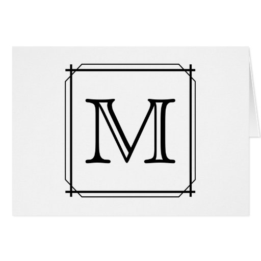 Your Letter. Custom Monogram. Black and White Greeting Cards