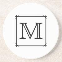 Your Letter. Custom Monogram. Black and White Coaster