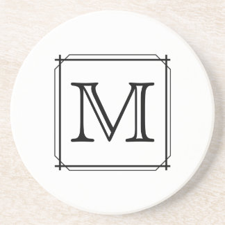 Your Letter. Custom Monogram. Black and White Coaster