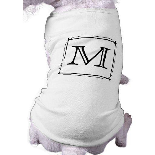Your Letter. Custom Monogram. Black and White Dog Tee Shirt
