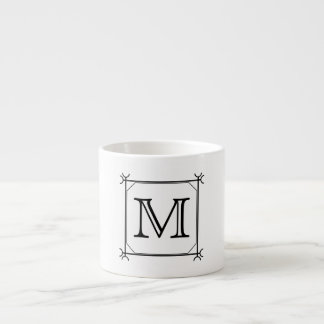 Your Letter. Custom Monogram. Black and White Espresso Cup