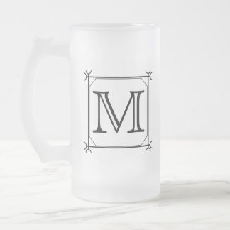 Your Letter. Custom Monogram. Black and White Frosted Glass Beer Mug