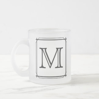 Your Letter. Custom Monogram. Black and White Frosted Glass Coffee Mug