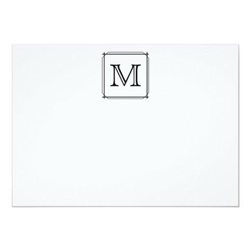 Your Letter. Custom Monogram. Black and White Custom Invitation