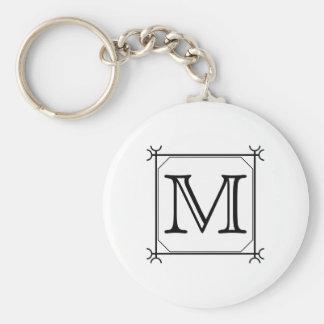 Your Letter. Custom Monogram. Black and White Key Chain