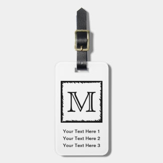 Your Letter. Custom Monogram. Black and White. Tag For Bags