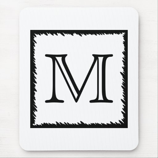 Your Letter. Custom Monogram. Black and White Mouse Pad