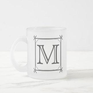 Your Letter. Custom Monogram. Black and White Coffee Mugs