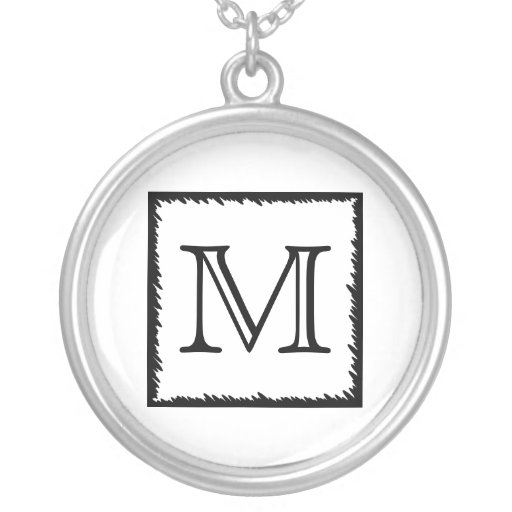 Your Letter. Custom Monogram. Black and White Personalized Necklace