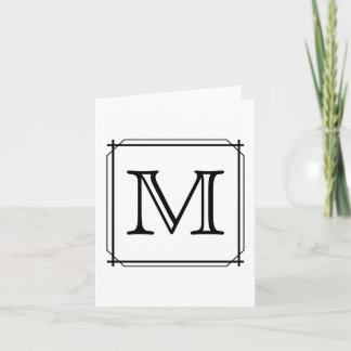 Your Letter. Custom Monogram. Black and White Note Card