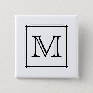 Your Letter. Custom Monogram. Black and White Pinback Button