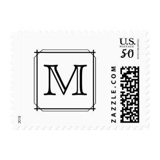 Your Letter. Custom Monogram. Black and White Postage
