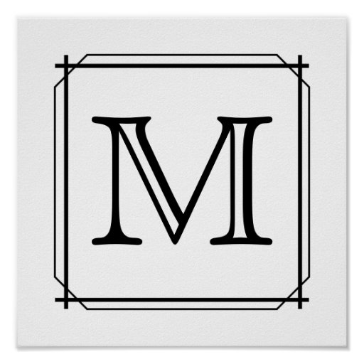 Your Letter. Custom Monogram. Black and White Posters