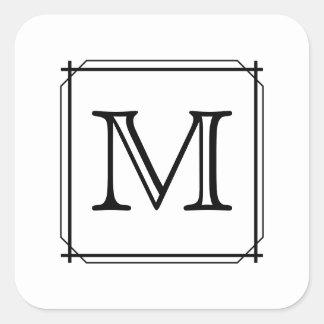Your Letter. Custom Monogram. Black and White Square Sticker