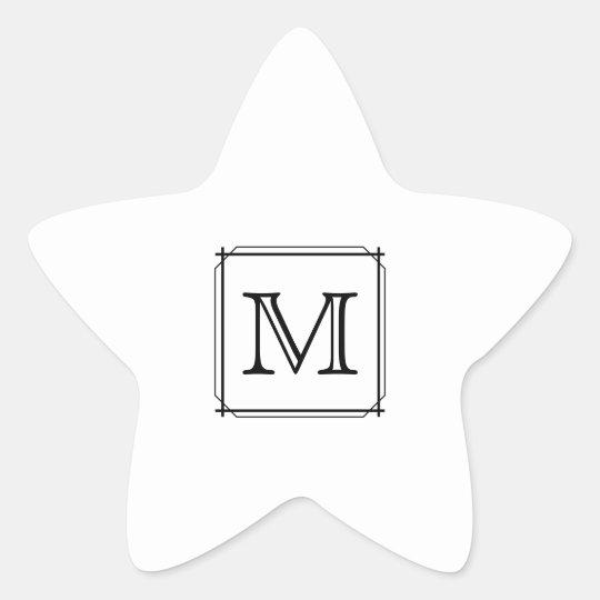 Your Letter. Custom Monogram. Black and White Star Sticker