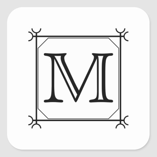 Your Letter. Custom Monogram. Black and White Sticker