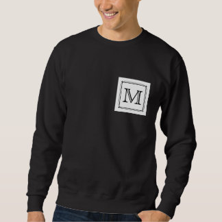 Your Letter. Custom Monogram. Black and White Sweatshirt