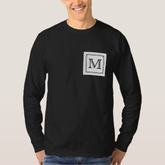 Your Letter. Custom Monogram. Black and White Tee Shirt