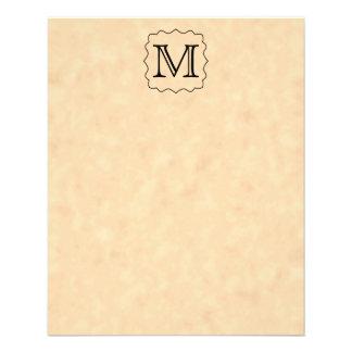 """Your Letter. Custom Monogram. Black & Parchment 4.5"""" X 5.6"""" Flyer"""