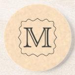 Your Letter. Custom Monogram. Black & Parchment Beverage Coasters