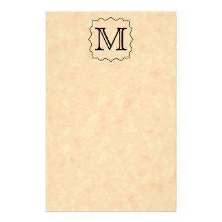Your Letter. Custom Monogram. Black & Parchment Flyers