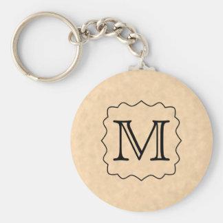 Your Letter. Custom Monogram. Black & Parchment Keychain