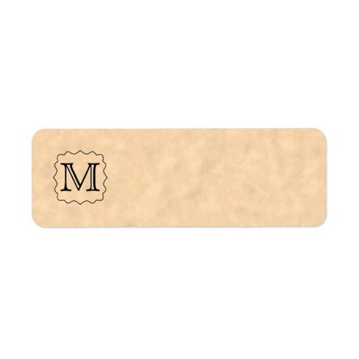 Your Letter. Custom Monogram. Black & Parchment Custom Return Address Label