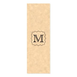 Your Letter. Custom Monogram. Black & Parchment Mini Business Card