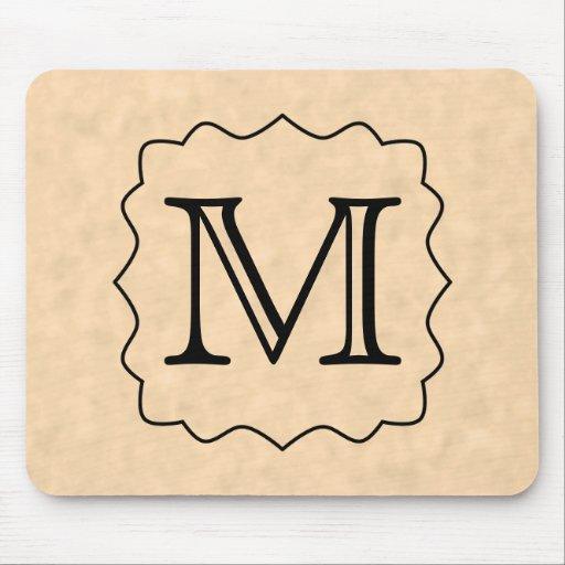 Your Letter. Custom Monogram. Black & Parchment Mouse Pad