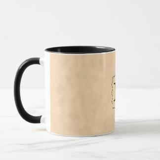 Your Letter. Custom Monogram. Black & Parchment Mug