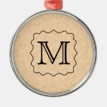 Your Letter. Custom Monogram. Black & Parchment Christmas Ornaments