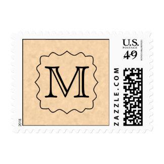 Your Letter. Custom Monogram. Black & Parchment Postage Stamps